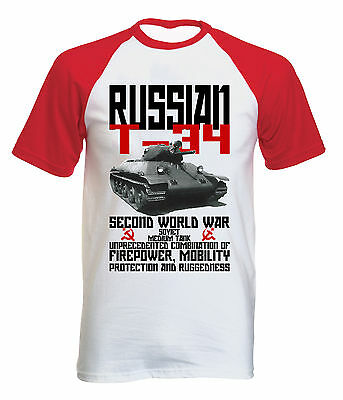 Russian T-34 Tank Wwii - New Cotton Baseball Tshirt All Sizes