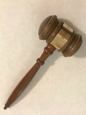 VINTAGE small engraved Women's Club wooden gavel, mallet, auctioneer's hammer