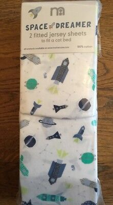 Mothercare Space Dreamer Pack Of 2 Fitted Jersey Cot Bed Sheets 🚀