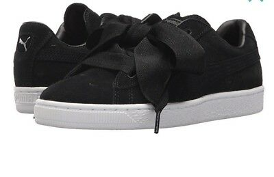8acd31b1a1fa27 New Puma Suede Heart Sneaker Black White 365010 03 Girls Kids YOUTH Sizes