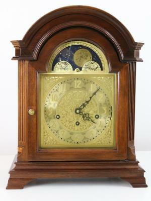 SUPERB QUARTER TRIPLE CHIMING BRACKET CLOCK with MOONROLLER DIAL & mahogany case