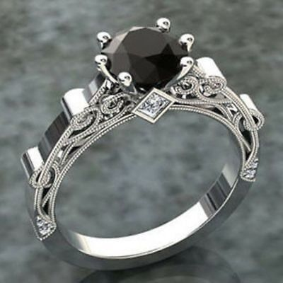 1.20ct Round-Cut Black Diamond Solitaire Engagement Ring 14K White Gold