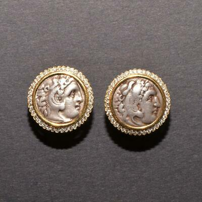 A pair of Alexander the Great Silver Drachm, c.336 - 323 BC set as earrings