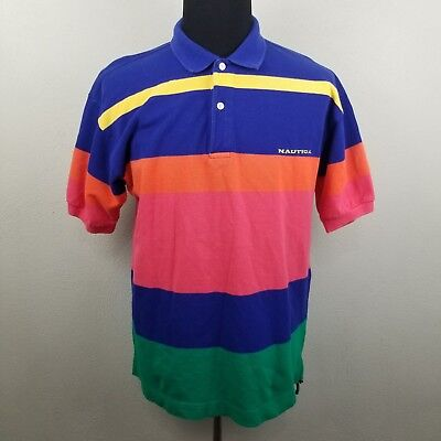 ed7df185e77 Vintage Nautica Polo Shirt size L Mens Multi Color Block Rugby Lil Yachty  90s