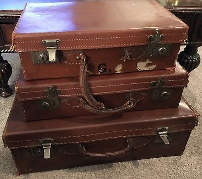 Three Antique Brown English Leather Hard Luggage Suitcase (Vintage)