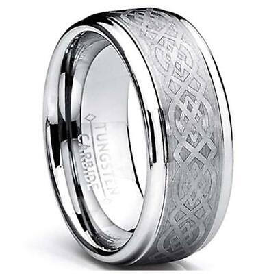 8MM Silver Celtic Loyal Knot Tungsten Carbide Wedding Band Ring
