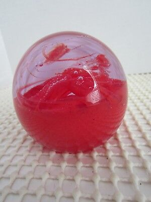 STUNNING  Art Glass Paperweight - Gorgeous RED!  - Excellent Condition