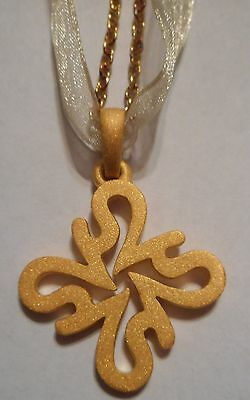 New Simply Vera Wang 18K Gold Over Sterling Silver Logo Pendant Charm Necklace