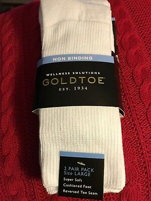 New W/Tags Gold Toe mens 2 pack White Non Binding crew socks, Shoe size 10.5-12