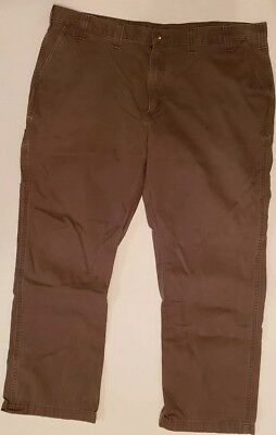CARHARTT WORK WEAR PANT CHINO STYLE BROWN MENS SIZE 44x30 PANTS CELL POCKET