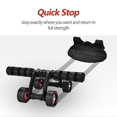 4-Wheel AB Roller Wheel Abs Trainer Fitness Equipment Home Workout With Kneepad