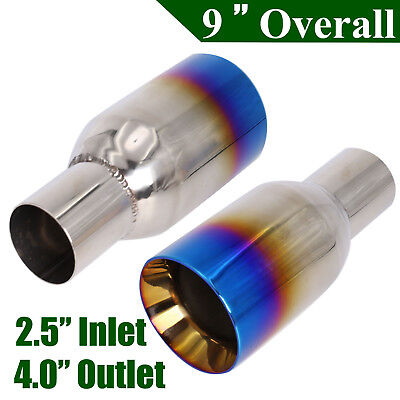 "2X 2.5"" In 4"" Out Blue Burnt Exhaust Duo Layer Straight Tip Polished Stainless"