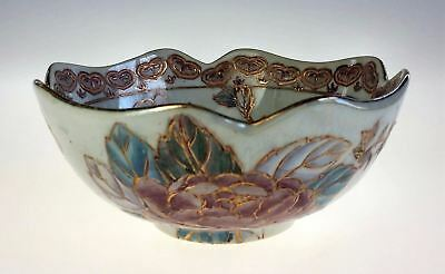 Oriental Lotus Shaped 6 inch Hand Painted Bowl Pastels Gold Trim Unknown Vintage