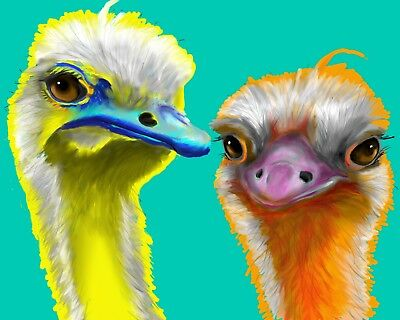 Colorful OSTRICHES Art PRINT of Original Digital Oil Painting Artwork by VERN