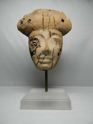 Ancient Egyptian wood Mummy Mask for a woman 600 BC