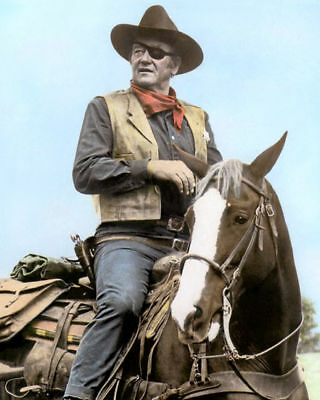 "JOHN WAYNE TRUE GRIT 1969 HOLLYWOOD LEGEND ACTOR 8x10"" HAND COLOR TINTED PHOTO"