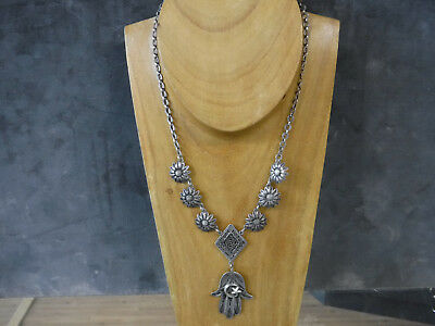 Antique Silver Persian-Style Necklace with Filigree Coiled Dangle Pendant
