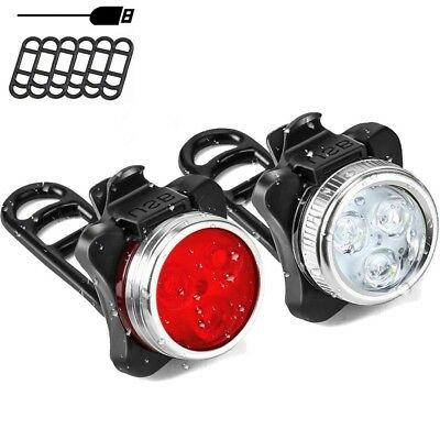 2 x LED Bikes Lights Headlight Taillight Caution Bicycle Lamps USB Rechargeable