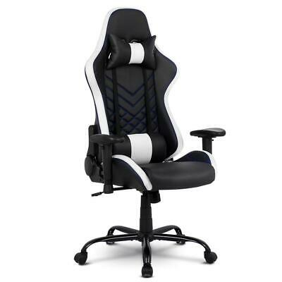 Gaming Office Chair Computer Racing Recliner Executive PU Leather Black and Whit