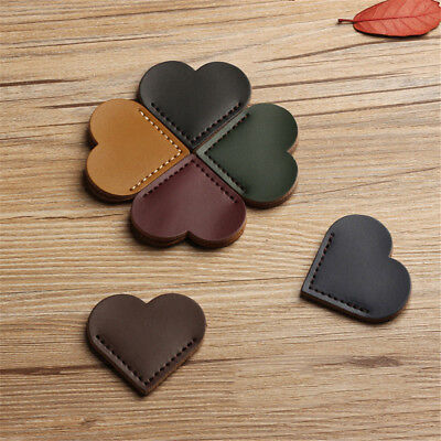 2pcs Love Heart Design Leather Bookmarks Vintage Paper Clips Book Clips 2019