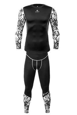 Kuangmi Sports Wear Mens Gym Running training Tights Compression Suit White 1set
