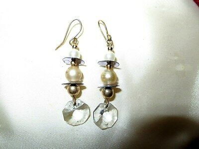 Fabulous pair of vintage silvertone fx pearl and glass dropper earrings