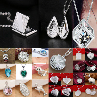Women Fashion 925 Sterling Silver Pendant Necklace Chain Wedding Jewelry Gifts