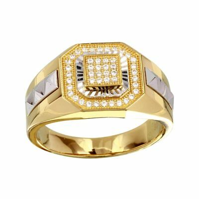 SURANO DESIGN JEWELRY Mens Sterling Silver Yellow Gold Plated CZ Stones Masonic Symbol 2-Tone Ring