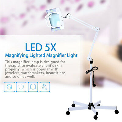 5X LED Lighting Magnifying Lamp Rolling Floor Stand Magnifier Adjustable Arm