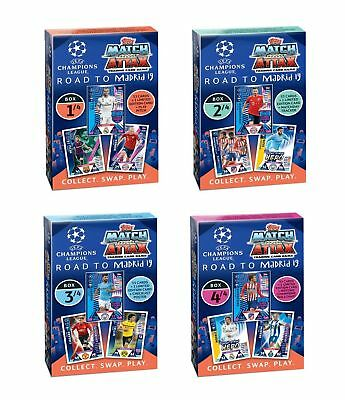 Topps Match Attax Champions League Road to Madrid 19 alle 4 Deck Boxen Neu OVP