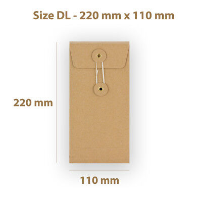 Manilla String & Washer DL Size Bottom&Tie Envelopes - With Gusset Cheap