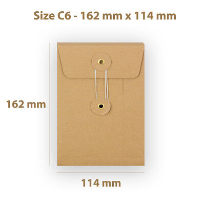 Manilla String & Washer C6 Size Bottom&Tie Envelopes - With Gusset Cheap
