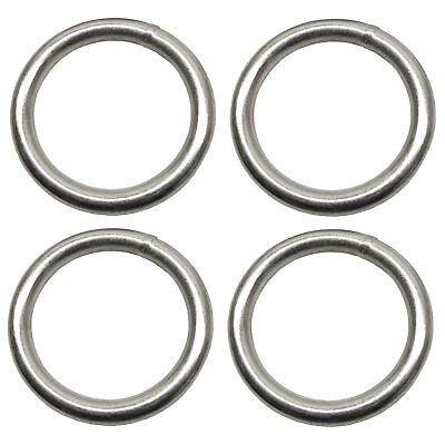 8mm x 50mm Steel Round O Rings Welded Zinc Plated 4 Pack DK36