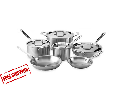All-Clad d5 Brushed Stainless Steel 10-Piece Cookware Set Cooking Kitchen Pan