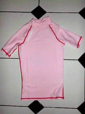 Tee-Shirt Fille Sport Rose Surf Planche Marque Tribord Decathlon T.8-10 Ans
