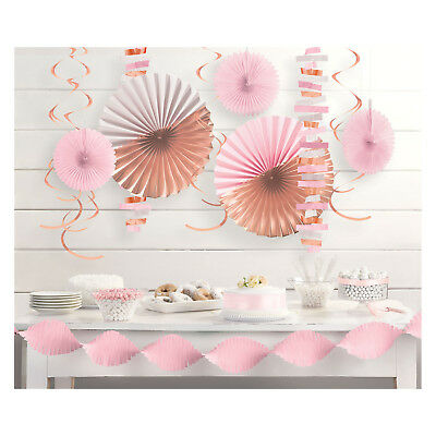 14 Piece Rose Gold & Blush Pink Paper Party Decoration Kit Garlands Fans Swirls