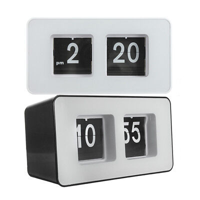 Unique Auto Flip Desk Clock Modern Case Retro Clock Desk Table Watch Decor Gift