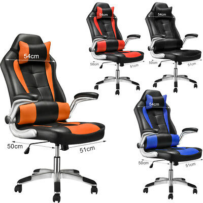 Luxury Sports Racing Gaming Chair Home Office Computer 360° Swivel High Back PU
