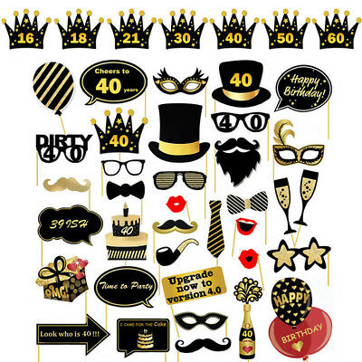 36PCS 21st/30/40/50/60th Birthday Party Photo Booth Props On Sticks Selfie/Frame
