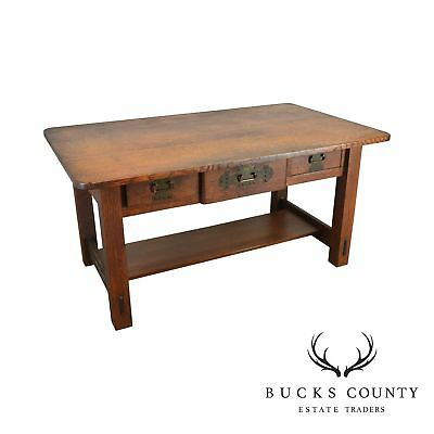 Stickley Brothers Antique Mission Art & Crafts Oak Library Table Desk