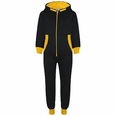 Kids Girls Boys Fleece Contrast A2Z Onesie One Piece Yellow All In One Jumpsuits