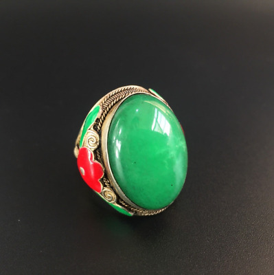 Collectible Chinese Tibet Silver inlay Green Jade Handwork carve Flowers Ring