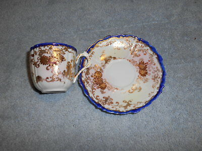 ( At2) Vintage - Oriental Cup & Saucer With Gold Trim