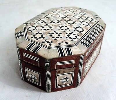 Small Vintage Handmade Turkish Mother of Pearl Marquetry Box