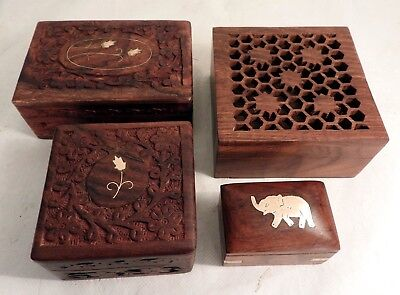 x5 Vintage Hand Carved Indian Wooden Boxes - Inlaid Brass Elephant, Potpourri