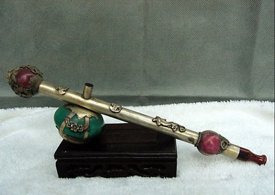 China collection Rare old Miao Silver smoking tobacco rod