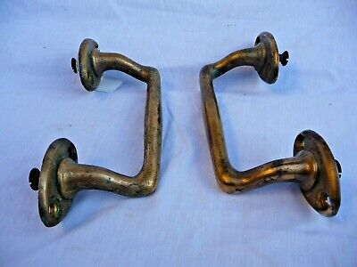 Antique Pair Heavy Bronze Door Handles Shop door pulls  Industrial door  Old 7""