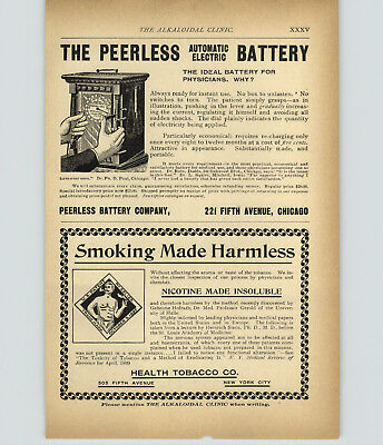 1899 PAPER AD Vintage Medical Quack Health Harmless Smoking Peerless Battery Dr