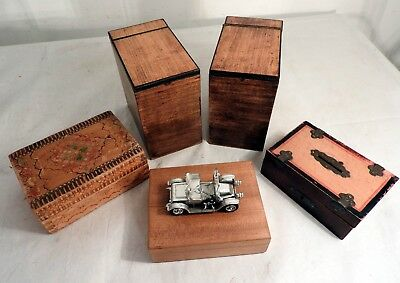 x7 Vintage Wooden Boxes Cigar Box, Tea Caddie, Indian, Moneybox, Leather