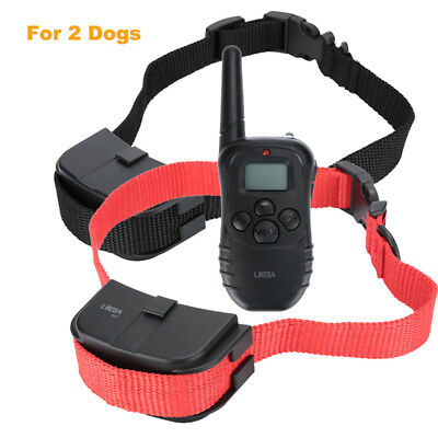 4 Modes Waterproof 2 Dog Shock Training Collar Pet Trainer with Remote 100 Level
